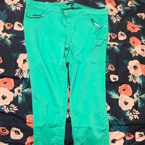 Bright blue skinny jeans